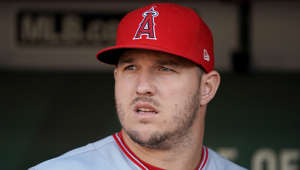 OAKLAND, CALIFORNIA - SEPTEMBER 04: Mike Trout #27 of the Los Angeles Angels of Anaheim looks on from the dugout prior to his game against the Oakland Athletics at Ring Central Coliseum on September 04, 2019 in Oakland, California. (Photo by Thearon W. Henderson/Getty Images)