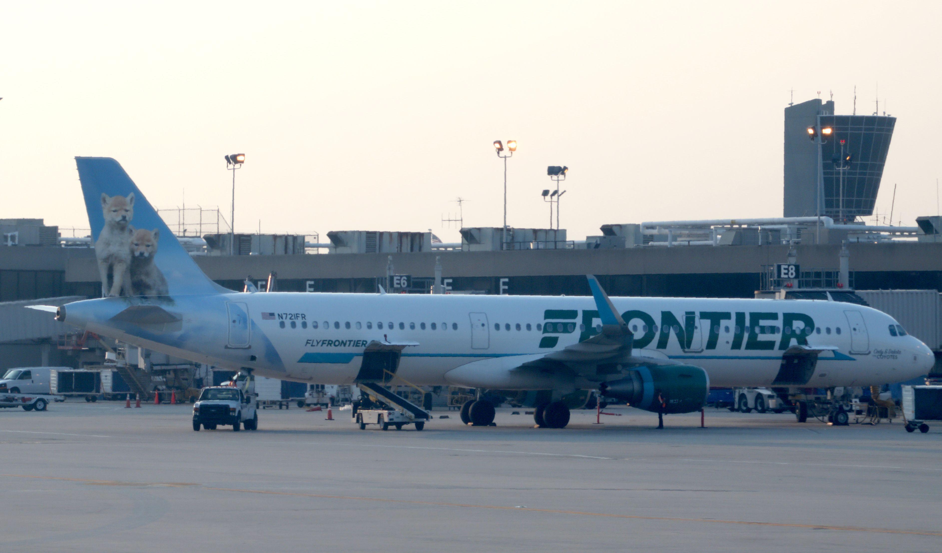 A Frontier Airlines jet at Philadelphia International Airport on June 1, 2018, in Philadelphia, Pennsylvania. (Photo by Daniel SLIM / AFP)        (Photo credit should read DANIEL SLIM/AFP/Getty Images)