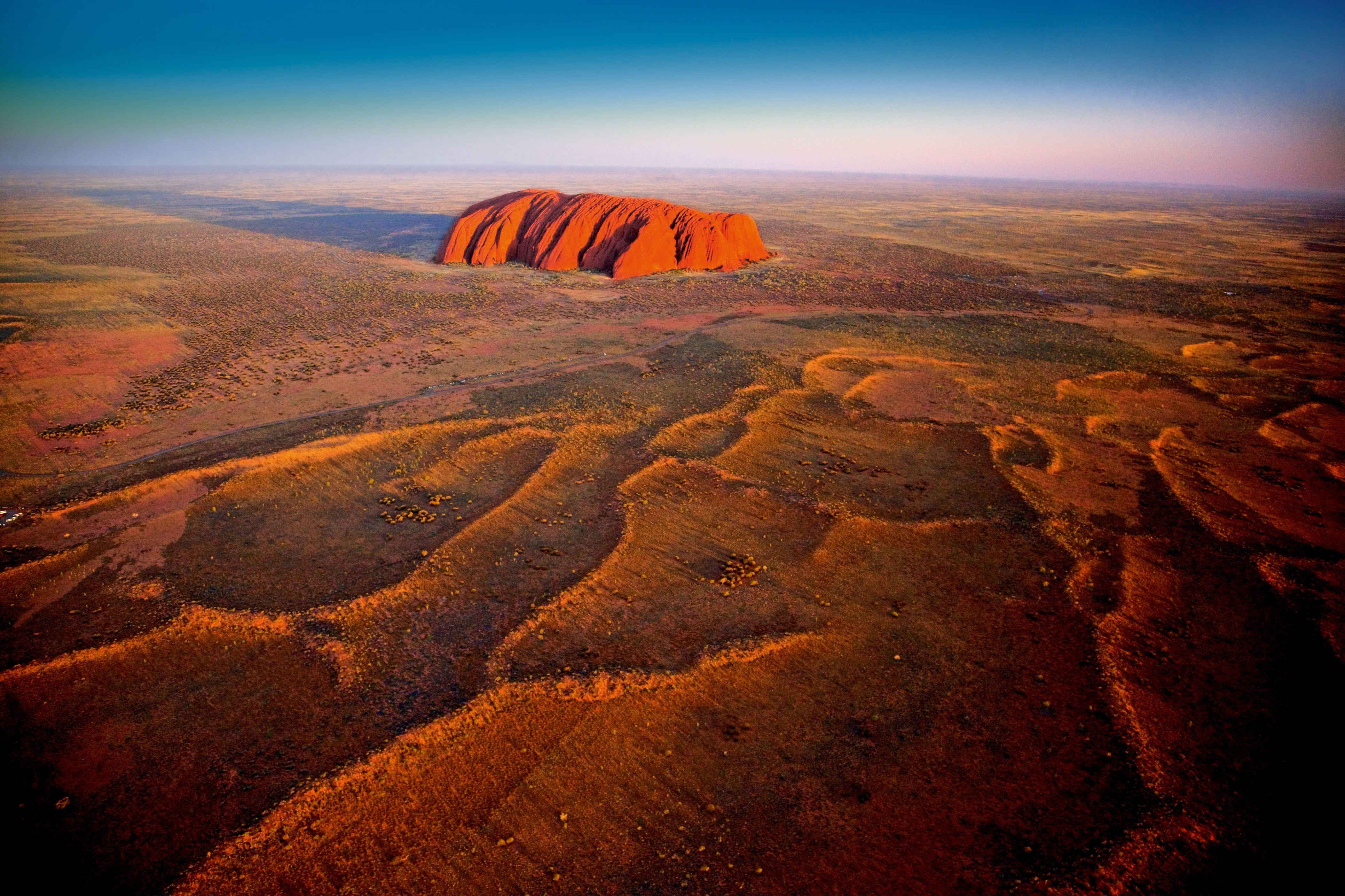 Slide 31 of 41: Australia, Northern Territory, Ayers Rock, Uluru, Oceania, South Pacific Ocean, Uluru-Kata Tjuta National Park, Australasia, Aerial photo