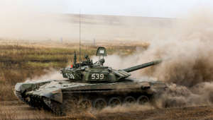 ROSTOV-ON-DON REGION, RUSSIA - SEPTEMBER 5, 2019: T-72B3 battle tank during military exercises in battle tank shooting and cross-country driving held by the Russian tank troops at the Kadamovsky firing range. Valery Matytsin/TASS (Photo by Valery Matytsin\TASS via Getty Images)