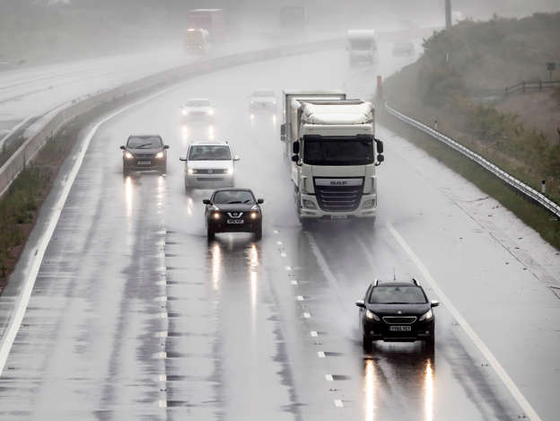 Torrential rain on the A1 near Leeming in Yorkshire on what is expected to be the hottest day of the year, as thunderstorms could bring a month's worth of rain to parts of the UK, before the hottest temperatures of the year so far bring a balmy end to June. (Photo by Danny Lawson/PA Images via Getty Images)