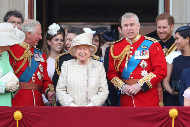 LONDON, ENGLAND - JUNE 08: Prince Charles, Prince of Wales, Princess Beatrice, Princess Anne, Princess Royal, Queen Elizabeth II, Prince Andrew, Duke of York, Prince Harry, Duke of Sussex and Meghan, Duchess of Sussex during Trooping The Colour, the Queen's annual birthday parade, on June 08, 2019 in London, England. (Photo by Chris Jackson/Getty Images)
