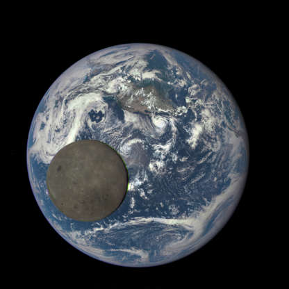 Slide 30 of 86: CAPTION: IN SPACE - In this handout provided by the National Aeronautics and Space Administration, a satellite image shows the far side of the moon as it crosses between the DSCOVR spacecraft and the Earth, at one million miles away,.released August 5, 2015. The image ias one of a series that NASA has turned into an animation of the moon passing by the Earth. (Photo by NASA via Getty Images)