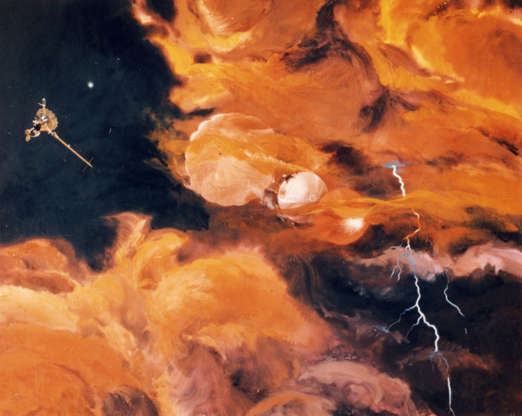 Slide 57 of 86: 7th December 1995: The released Galileo probe enters the turbulent upper atmosphere of Jupiter with its heat shield below and a parachute above. It is expected to relay around 75 minutes of information to earth, before it succumbs to the surrounding temperature and pressure. Behind it is the Galileo Orbiter, which remains above the cloud level to observe the Jupiter system from above. (Photo by MPI/Getty Images)