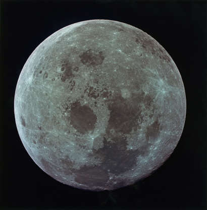 Slide 69 of 86: The full Moon as photographed during NASA's Apollo 11 lunar landing mission, as the three astronauts begin their journey back to Earth, 21st July 1969. The spacecraft was already 10,000 nautical miles from the Moon when the image was taken. (Photo by Space Frontiers/Getty Images)