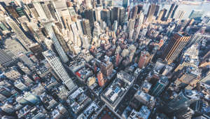 High Angle view of Manhattan Skyline Midtown Manhattan Panorama