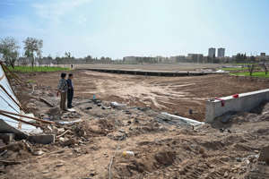 This photo taken on September 13, 2019 shows the works of a park in a place where before there was a Uighur cemetery in Kuche in the region of Xinjiang. China is destroying burial grounds where generations of Uighur families have been laid to rest.