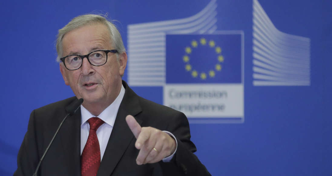 Slide 39 of 48: European commission President Jean-Claude Juncker delivers a speech during an event for the Inauguration of the European Labour Authority (ELA) in Brussels, Belgium, on October 16, 2019. (Photo by OLIVIER HOSLET / POOL / AFP) (Photo by OLIVIER HOSLET/POOL/AFP via Getty Images)