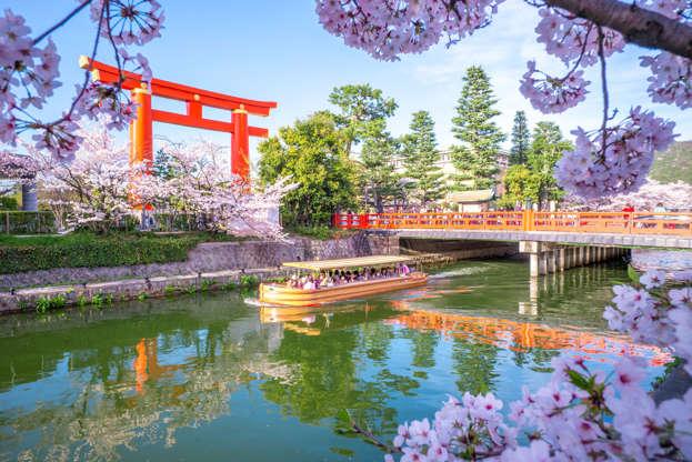 24 枚のスライドの 4 枚目: Kyoto, Japan - April 5, 2016: Heian Jingu's Torii and Okazaki Canal with cherry blossom. Okazaki Canal connects the Lake Biwa Canal network with Kamo River