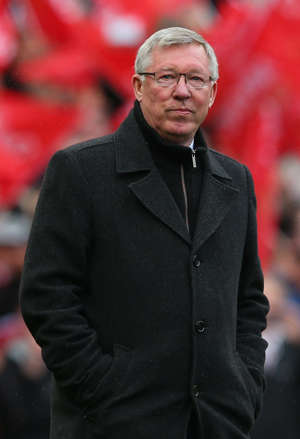 Manchester United Manager Sir Alex Ferguson looks on prior to the Barclays Premier League match between Manchester United and Swansea City at Old Trafford on May 12, 2013 in Manchester, England.