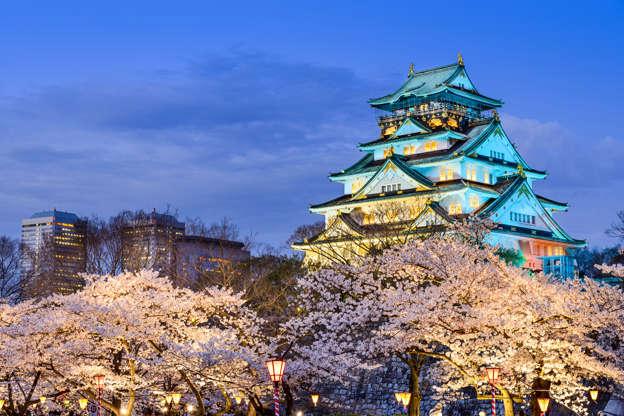 24 枚のスライドの 17 枚目: Osaka, Japan- April 2, 2014: Osaka Castle during the spring cherry blossom season. The original castle dates from 1583 and was most recently rebuilt in 1995.