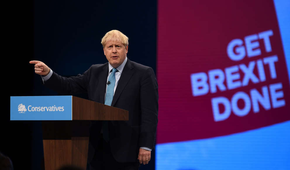 """Slide 38 of 48: Prime Minister Boris Johnson has proposed his final Brexit offer to take out U.K. from the European Union by the end of the month. At the Conservative Party conference, he said: """"Voters are desperate for us to focus on other priorities… What people want, what 'Leavers' want, what 'Remainers' want, what the whole world wants is to move on. Let's get Brexit done -- we can, we must and we will."""" He further said that if Belgium doesn't engage with the proposal, there won't be any further talks. He added: """"The EU is obliged by EU law only to negotiate with member state governments, they cannot negotiate with Parliament, and this government will not negotiate a delay."""""""