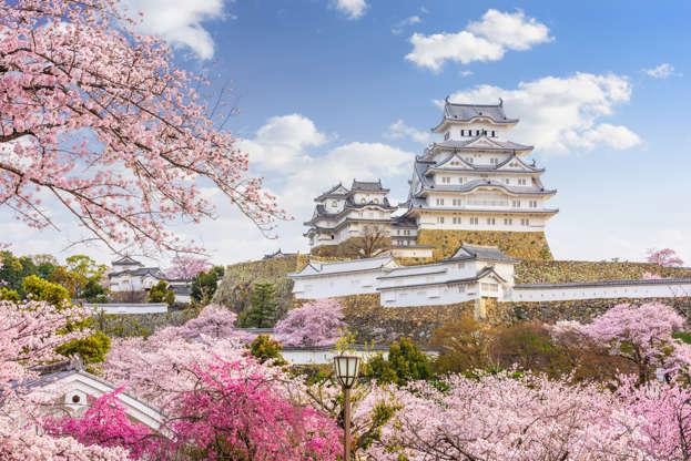 24 枚のスライドの 7 枚目: Himeji, Japan - April 10, 2017: Himeji Castle during spring cherry blossom season. The castle dates from 1333 and is considered one of the finest surviving example of Japanese castle architecture.