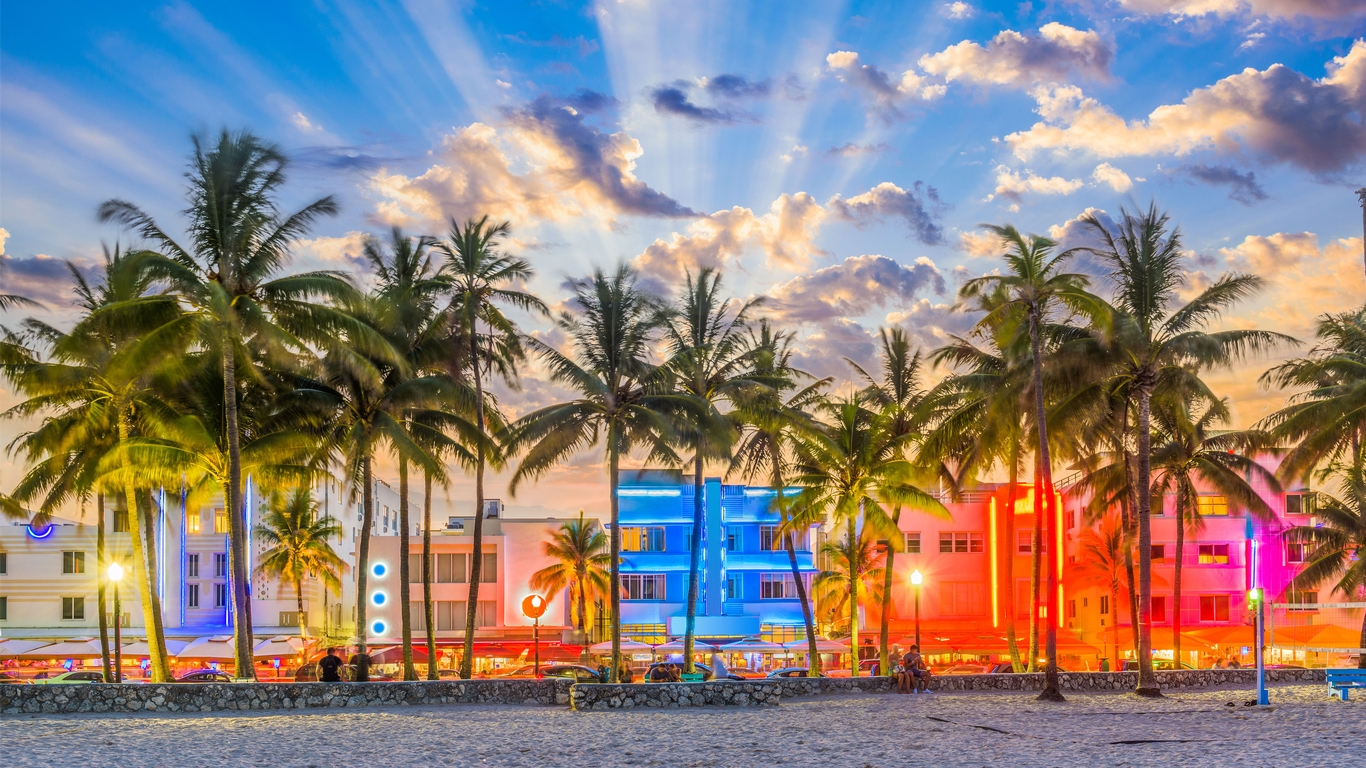 Slide 19 of 20: Whether you're a foodie, party-goer, or even just an art enthusiast, South Beach offers beautiful white-sandy beaches lined with palm trees with plenty of entertainment even if you're only staying in town for a short time.