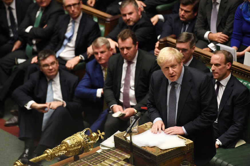"""Slide 41 of 48: Britain's Prime Minister Boris Johnson speaks ahead of a vote on his renegotiated Brexit deal, on what has been dubbed """"Super Saturday"""", in the House of Commons in London, Britain October 19, 2019. ©UK Parliament/Jessica Taylor/Handout via REUTERS ATTENTION EDITORS - THIS IMAGE WAS PROVIDED BY A THIRD PARTY"""