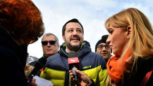 Italys Interior Minister and deputy PM Matteo Salvini poses on February 8, 2019 in Rivisondoli, central Italy. (Photo by Alberto PIZZOLI / AFP)        (Photo credit should read ALBERTO PIZZOLI/AFP/Getty Images)