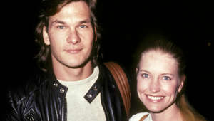 Actor Patrick Swayze and wife Lisa Niemi attend Police-Celebrity Basketball Game on February 26, 1983 at Beverly Hills High School in Beverly Hills, California.