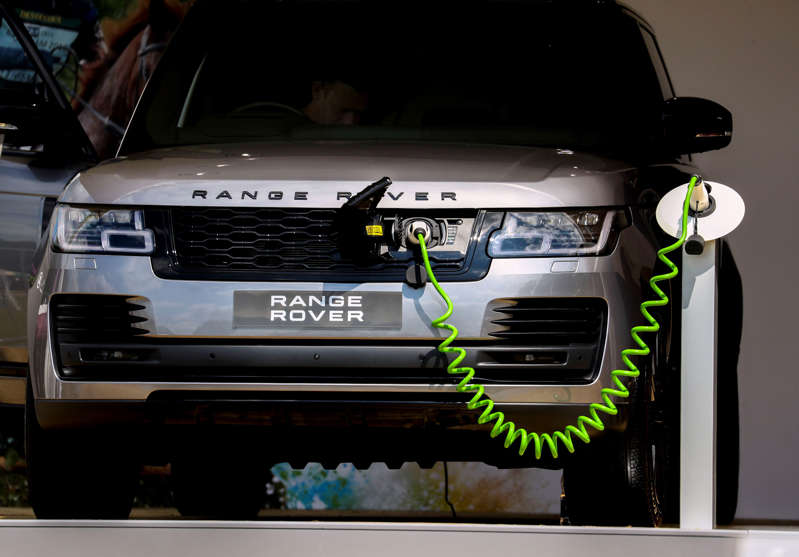 A electric Range Rover made by Jaguar Land Rover on display during the Festival of British Eventing at Gatcombe Park, Gloucestershire