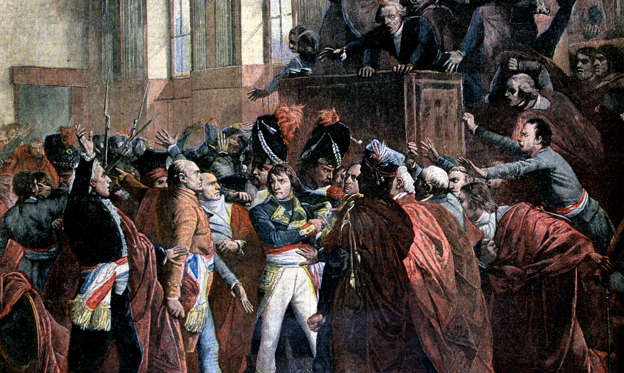 Slide 1 of 12: The coup of 18 Brumaire brought General Napoleon Bonaparte to power as First Consul of France, and, in the view of most historians, ended the French Revolution. This bloodless coup d'etat overthrew the Directory, replacing it with the French Consulate. This occurred on 9 November 1799, which was 18 Brumaire, Year VIII under the French Republican Calendar. Napoleon Bonaparte in the coup d'etat of 18 Brumaire in Saint-Cloud. (Photo by: Universal History Archive/Universal Images Group via Getty Images)