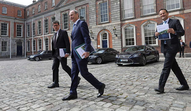 Micheal Martin, Leo Varadkar are posing for a picture: Taoiseach Micheál Martin last night broke his silence over the disastrous handling of the Katherine Zappone controversy after Tánaiste Leo Varadkar's attempts to draw a line under the crisis. PIC JULIEN BEHAL PHOTOGRAPHY