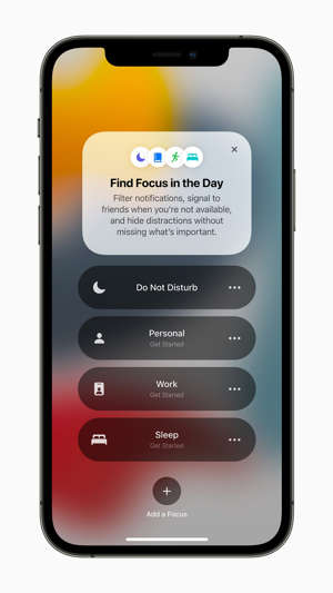 graphical user interface, application: A new feature coming to iOS 15 is Focus, which filters notifications and apps based on what a user wants to focus on to help you reduce distractions.