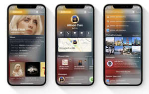graphical user interface, application: Spotlight's new rich data views will let you do a lot of contact searching or basic web searches without ever leaving your Home Screen. Image: Apple
