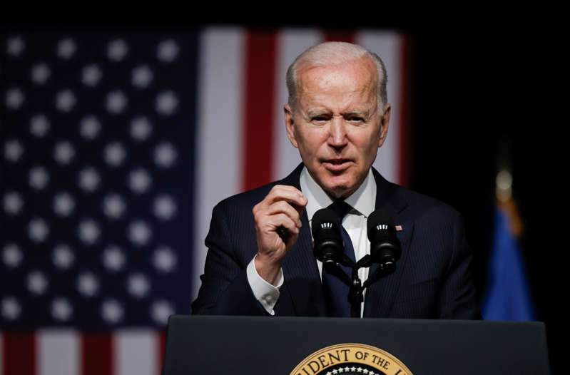 U.S. President Joe Biden delivers remarks on the centennial anniversary of the Tulsa race massacre during a visit to the Greenwood Cultural Center in Tulsa, Oklahoma, U.S., June 1, 2021. REUTERS/Carlos Barria