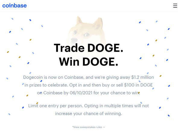 graphical user interface, text, application: Dogecoin giveway on Coinbase