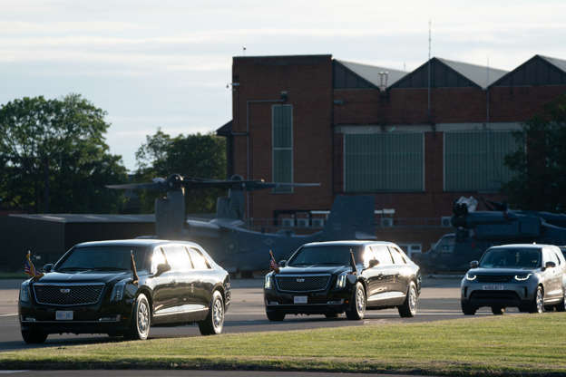 Slide 8 of 19: The motorcade of US President Joe Biden and First Lady Jill Biden as they arrive at RAF Mildenhall in Suffolk, ahead of the G7 summit in Cornwall, on June 9, 2021 in Mildenhall, England.