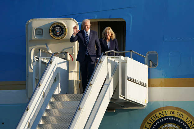 Slide 10 of 19: US President Joe Biden and First Lady Jill Biden arrive aboard Air Force One at RAF Mildenhall, England, ahead of the G7 summit in Cornwall, Wednesday June 9, 2021. Biden will attend the G7 summit in Cornwall, southwest England.