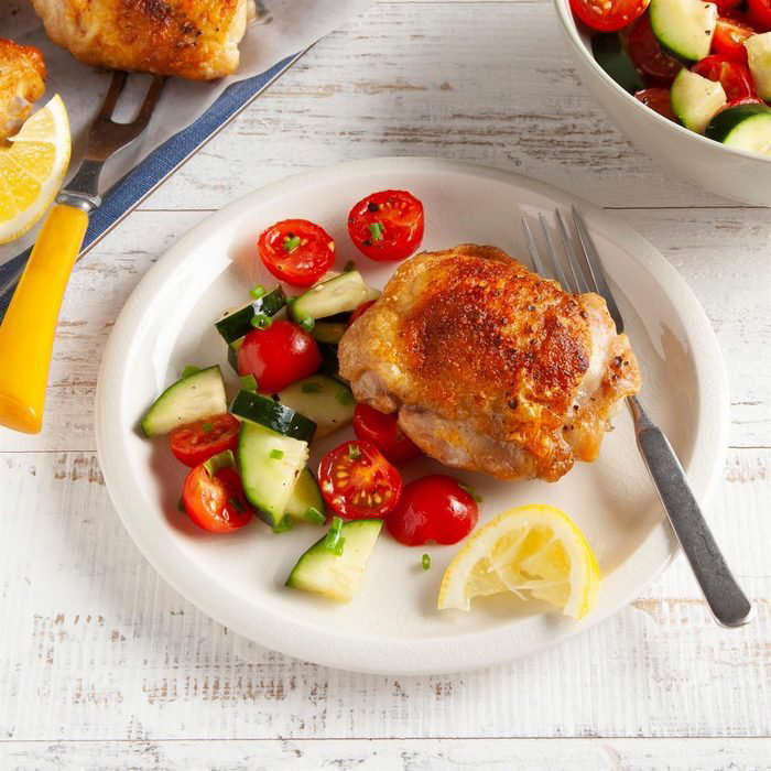 a plate of food on a table: Air Fryer Chicken Thighs Exps Ft21 261385 F 0128 1 4