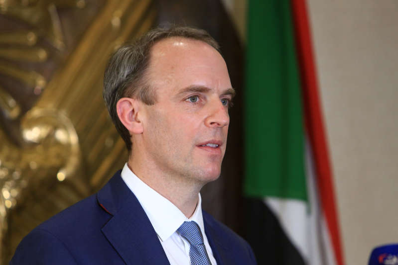 British Foreign Secretary Dominic Raab makes a speech as he holds a press conference with his Sudanese counterpart Omer Gamar-Eddin (not seen) at the Khartoum International Airport in Khartoum, Sudan on January 21, 2021. (Photo by Mahmoud Hjaj/Anadolu Agency via Getty Images)