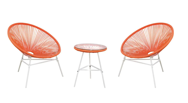 a close up of a chair: Classic Acapulco Chair Orange Red 3-Piece Wicker Outdoor Bistro Set