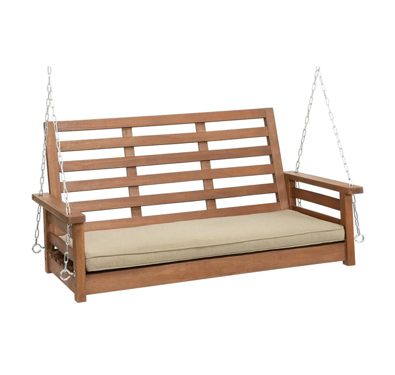 a wooden bench: 4 ft. Hardwood Porch Swing with Chains in Oil with Taupe Olefin Cushion
