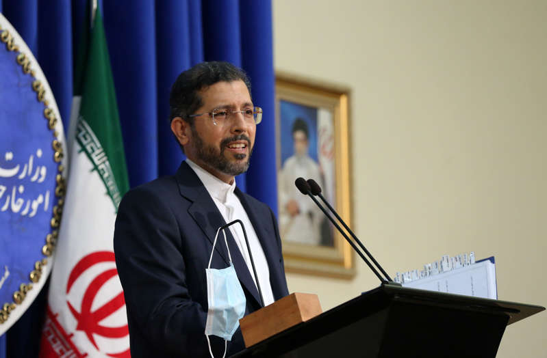 TEHRAN, IRAN - OCTOBER 5: Iranian Foreign Ministry Spokesman Saeed Khatibzadeh speaks about the conflicts between Azerbaijan and Armenia during a press conference held at the Ministry of Foreign Affairs building in Tehran, Iran on October 5, 2020. (Photo by Fatemeh Bahrami/Anadolu Agency via Getty Images)