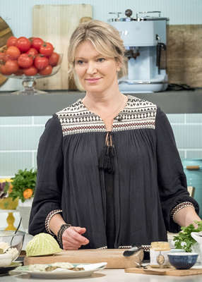 Rachel Allen sitting on a table: Especially over the course of the pandemic, with travel restrictions keeping her from visiting, Rachel admits she has been worrying non-stop about Lucca. Pic: Ken McKay/ITV/REX/Shutterstock