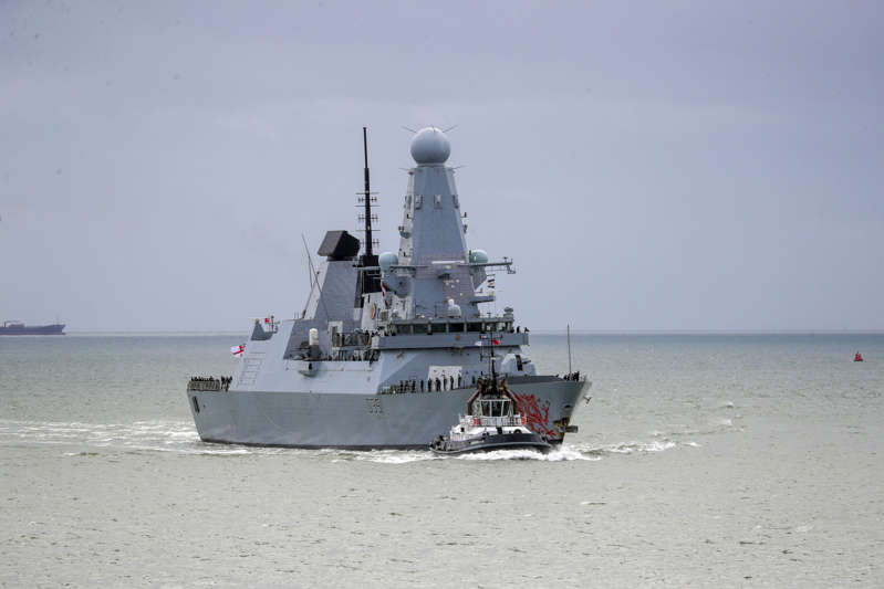 FILE - The HMS Dragon seen from the Round Tower as she returns to Portsmouth Naval Base after a training exercise off the Egyptian coast.