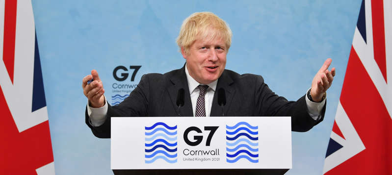 Britain's Prime Minister Boris Johnson speaks during a news conference at the end of the G7 summit in Carbis Bay, Cornwall, Britain, June 13, 2021. Ben Stansall/Pool via REUTERS