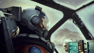 a close up of a motorcycle: Starfield trailer reveal still cockpit view