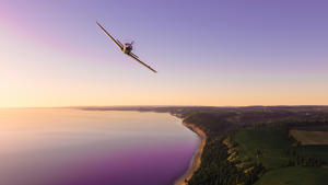 a plane flying over a body of water: Microsoft Flight Simulator photo mode