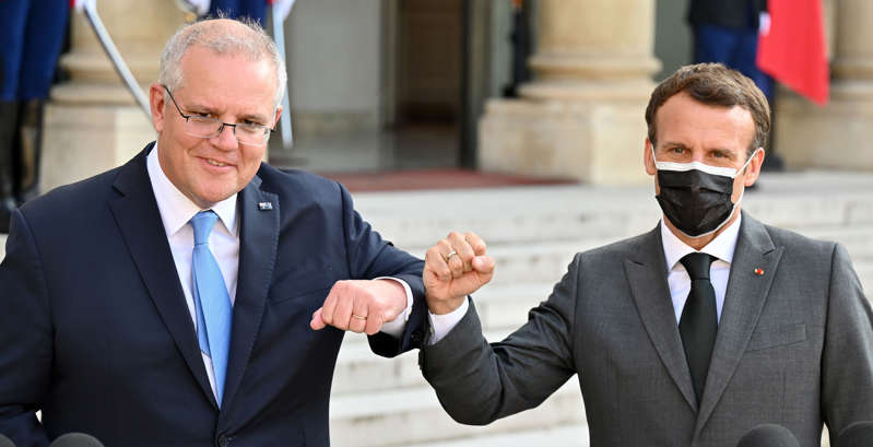 French President Emmanuel Macron and Prime Minister Scott Morrison pose before dinner at the Elysee Palace in Paris, France on June 15.