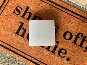 a sign on a brick wall: Frontpoint's system is comparable to most other DIY security systems on the market, except in one way. David Priest/CNET
