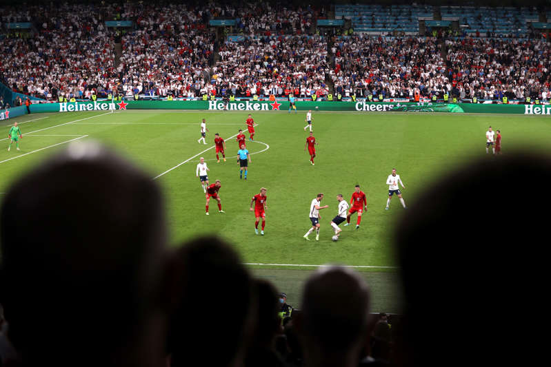 Soccer Football - Euro 2020 - Semi Final - England v Denmark - Wembley Stadium, London, Britain - July 7, 2021 General view of England's Harry Kane and Luke Shaw in action Pool via REUTERS/Catherine Ivill