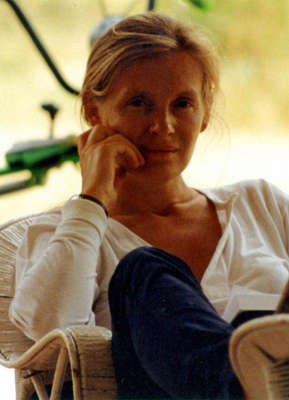 Death of Sophie Toscan du Plantier sitting in a chair talking on the phone: Sophie Toscan du Plantier, a French film producer who was beaten to death outside her holiday home near Toormore, Skibbereen, County Cork, Ireland. Pic: PA