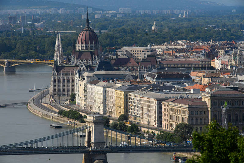 17 June 2021, Hungary, Budapest: View over the Danube to the city centre with the parliament building and the Elisabeth Bridge. Photo: Robert Michael/dpa-Zentralbild/dpa (Photo by Robert Michael/picture alliance via Getty Images)