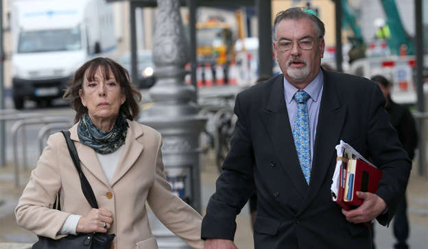 Ian Bailey wearing a suit and tie: Ian Bailey denied Jules Thomas's eye 'was the size of a grapefruit', saying that was a 'gross exaggeration'. Pic Collins Courts