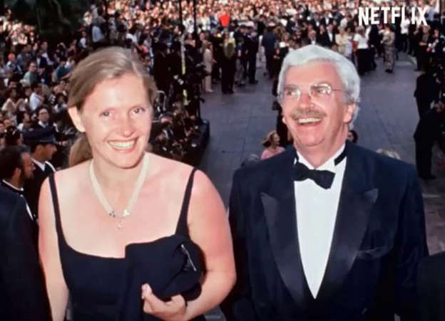 Death of Sophie Toscan du Plantier et al. standing in front of a crowd posing for the camera: Sophie Toscan du Plantier with her husband Daniel and son Pierre-Louis. Pic: Netflix