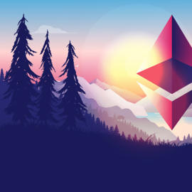 a sunset in the background: Landscape art with the Ethereum