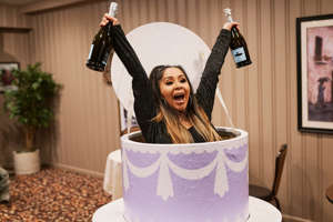"""Nicole 'Snooki' Polizzi standing in front of a cake: Nicole """"Snooki"""" Polizzi of MTV's 'Jersey Shore: Family Vacation'"""