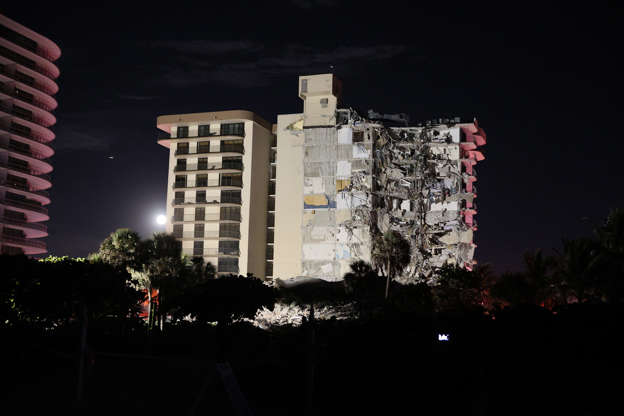 Slide 33 of 34: A portion of the 12-story condo tower crumbled to the ground following a partial collapse of the building on June 24, 2021 in the Surfside area of Miami, Fla.